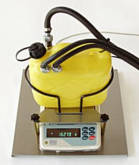 Fuel tank on precision balance