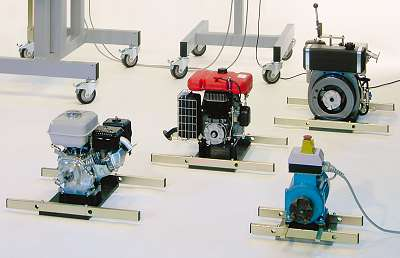 Module plates with different small combustion engines and electric motor